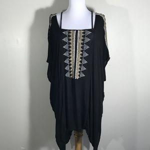 Ecote Swim Cover Up Dress Tribal Cold Shoulder M